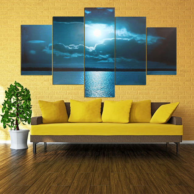Modern Abstract Wall Decor Art Moon Sea Oil Paintings Painted Unframed