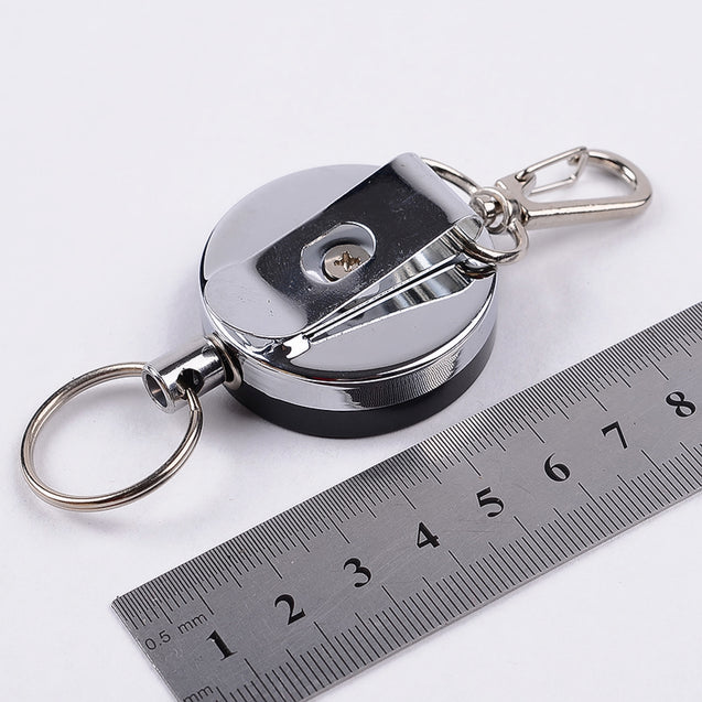 4cm High Resilience Steel Wire Rope Chain Recoil Metal Retractable Key Chain Alarm Key Ring