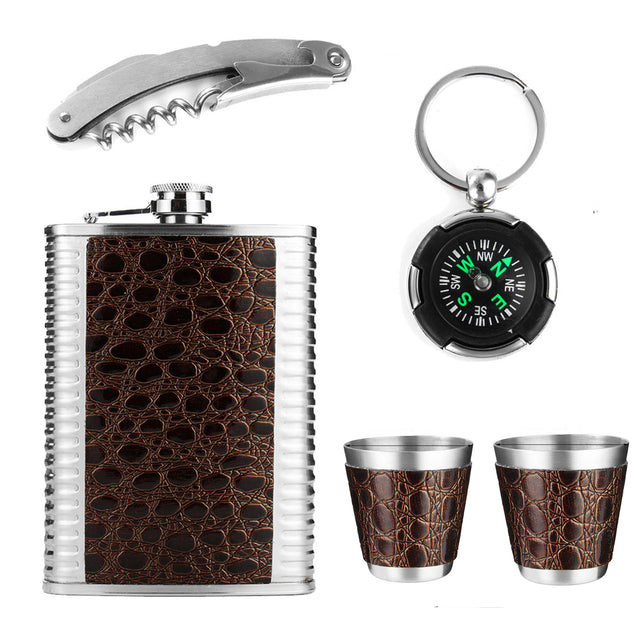 Outdoor Portable 9oz Stainless Steel Liquor Hip Flask+2 Wine Glass+Bottles Opener+Compass For Gift