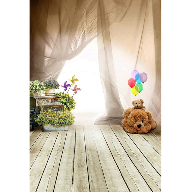 5x7FT Children Bear Balloon Wooden Floor Photography Studio Background Backdrop