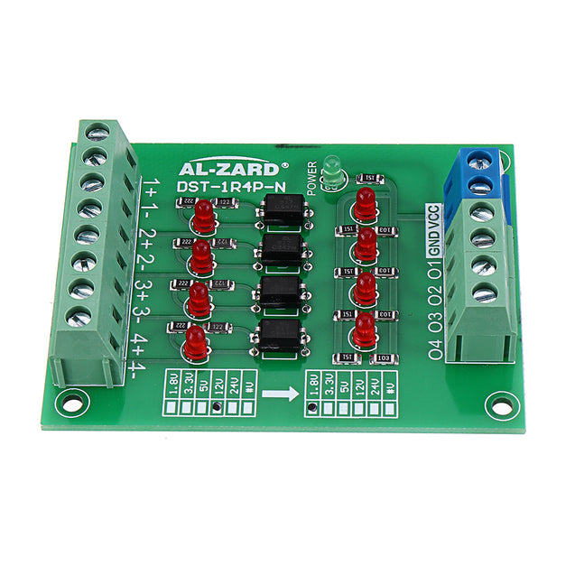 5pcs 12V To 5V 4 Channel Optocoupler Isolation Board Isolated Module PNP Output PLC Signal Level Voltage Converter