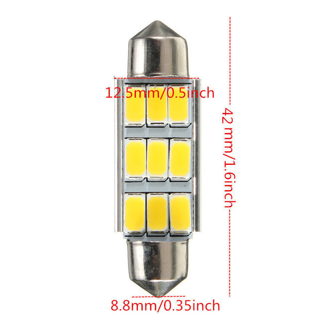 Car Dome 5630 SMD 9 LED Bulb Light Interior Festoon 42MM Warm White