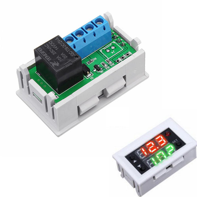 3pcs Mini 12V 20A Digital LED Dual Display Timer Relay Module With Case Timing Delay Cycle