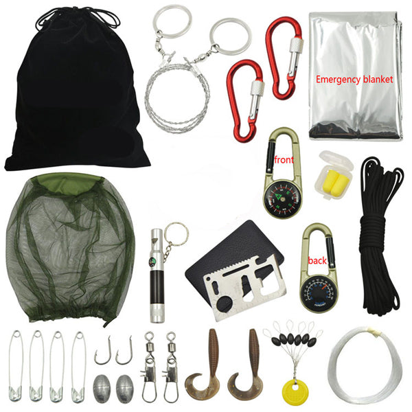 18 In 1 Multifunction Outdoor Fishing Gear Survival Kit Emergency Kit Wild Travel Essentials