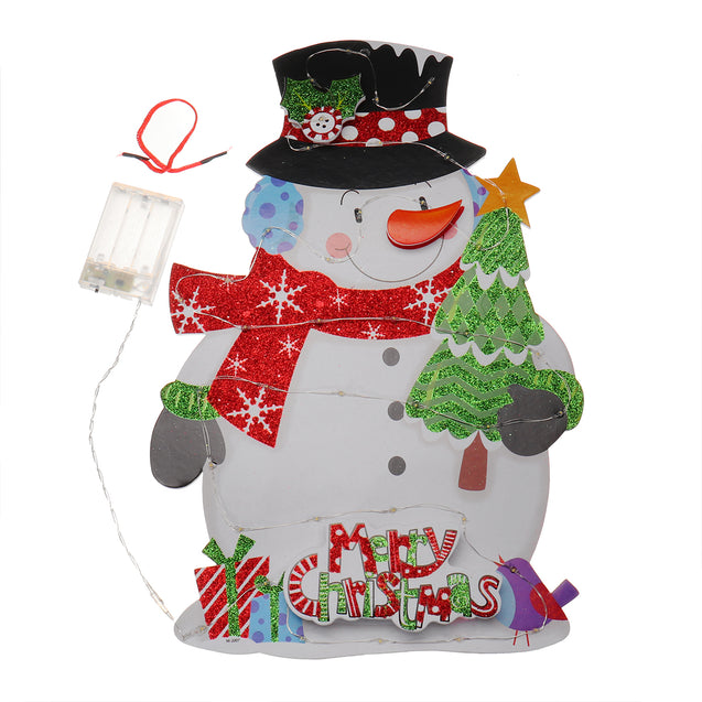 Battery Operated LED Glowing Snowman Christmas Party Hanging Ornaments Festival Holiday Light