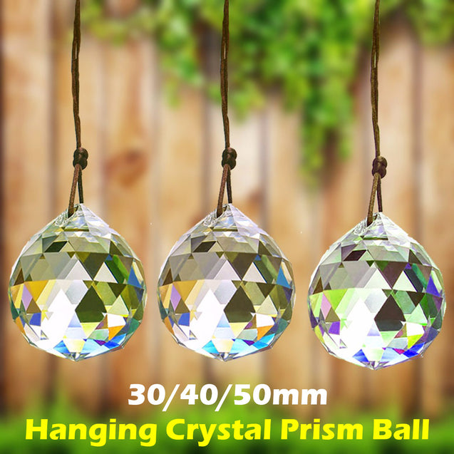 A Set(30/40/50mm) Chandelier Sparkling Colorful Hanging Crystal Prism Ball for Pendant