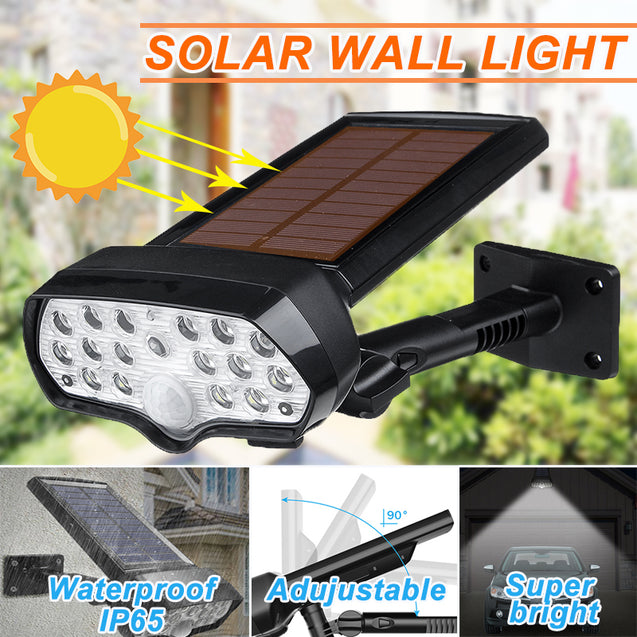 30W 16LED Solar Panel Street Light PIR Motion Sensor 360 Diming Outdoor Wall Lamp for Garden Road Pathway