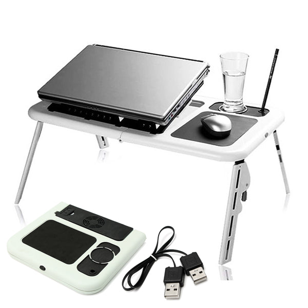 Portable & Adjustable Folding Laptop Table E-Table With Cooling Fans Stand