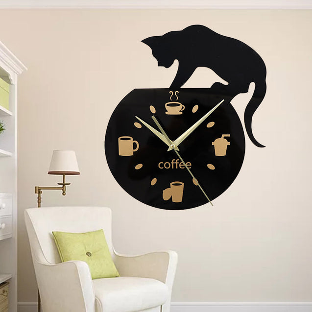 Emoyo ECY013 DIY Creative Coffee Cat Wall Clock Animal Wall Clock Quartz Wall Clock For Home Office Decorations