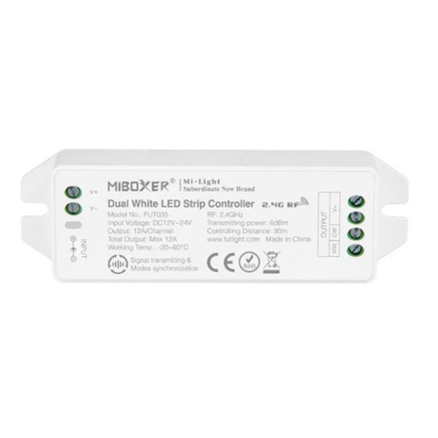 MiBoxer FUT035 (Upgraded) 2.4GHz 4-Zone LED Controller for Color Temperature Dual White Strip Light DC12V-24V