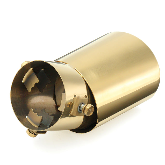 Universal 63mm Inlet Exhaust Muffler Tip Silencer Auto Gold Stainless Steel