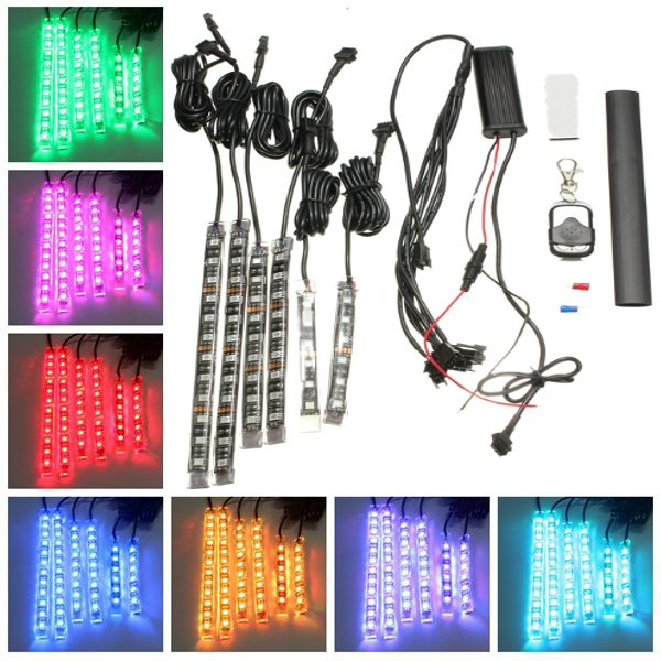 6pcs RGB LED Flexible Neon Strips Light For Motorcycle Auto ATV &Remote Controller