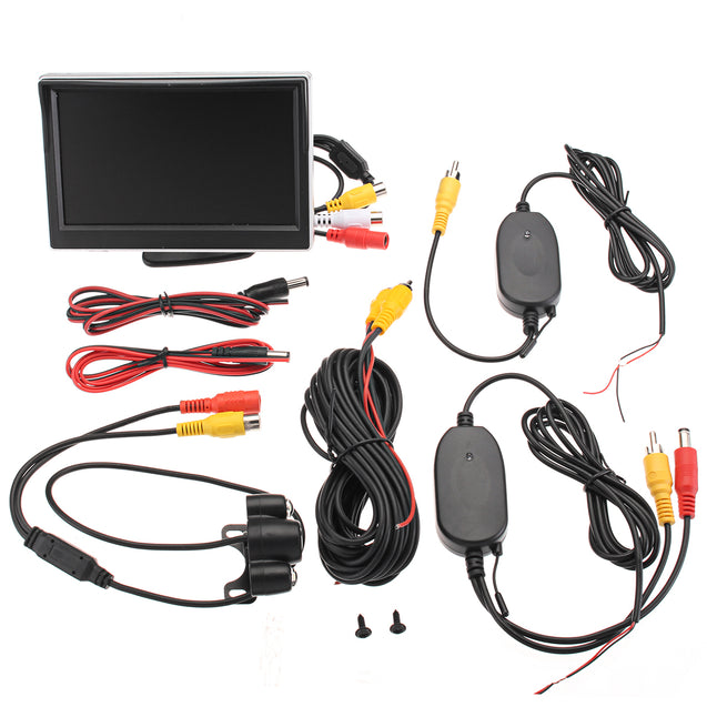 Wireless 5 Inch 170 Degree Car Rear View LCD Monitor Kit Reverse Backup Cam Night Vision