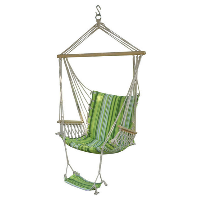 IPRee Outdoor Canvas Swing Hammock Leisure Hanging Chair Garden Patio Yard Max 330Lbs