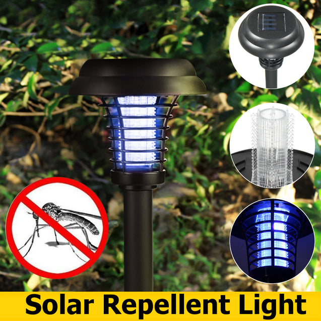 Solar Powered LED Light Mosquito Pest Bug Zapper Insect Killer Lawn Lamp Garden