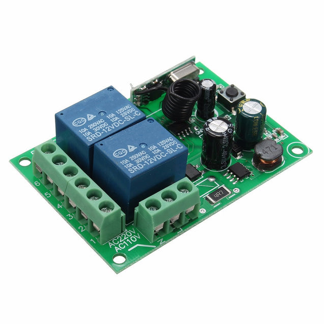5pcs 433Mhz Wireless Remote Control Switch AC 250V 110V 220V 2CH Relay Receiver Module with RF Remote Controls