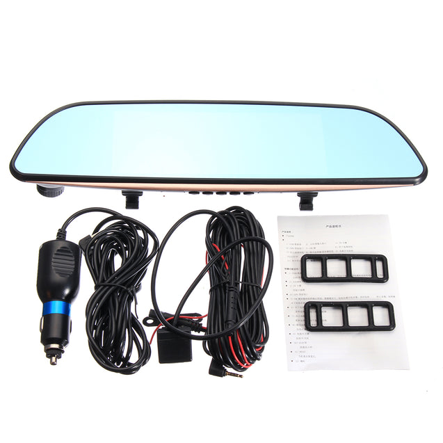 7 Inch Car DVR HD 1080P Dual Lens Vehicle Rearview Mirror Camera Recorder Dash Cam