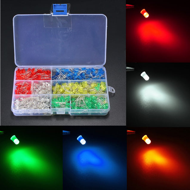 500PCS 5MM LED Light White Yellow Red Blue Green DIY Assortment Diodes Kit