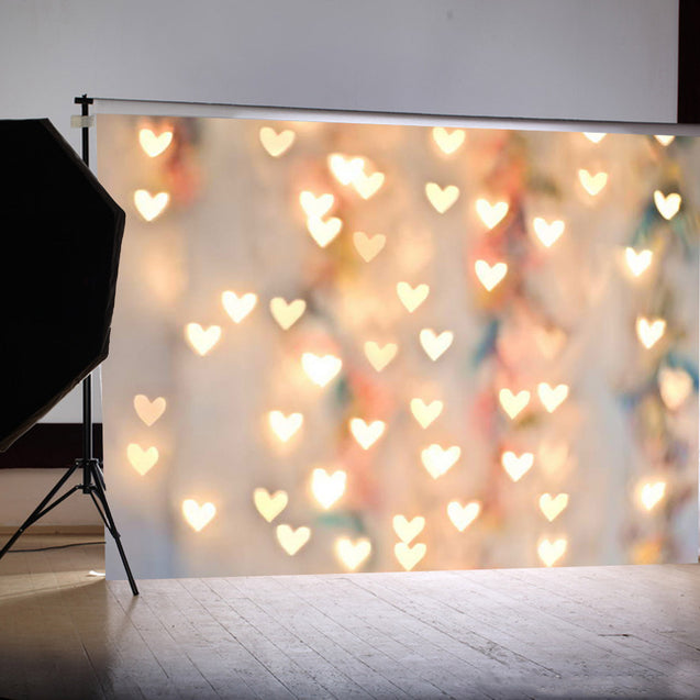 7x5FT Warm Heart Love Heart Light Photographic Vinyl Background Studio Backdrop