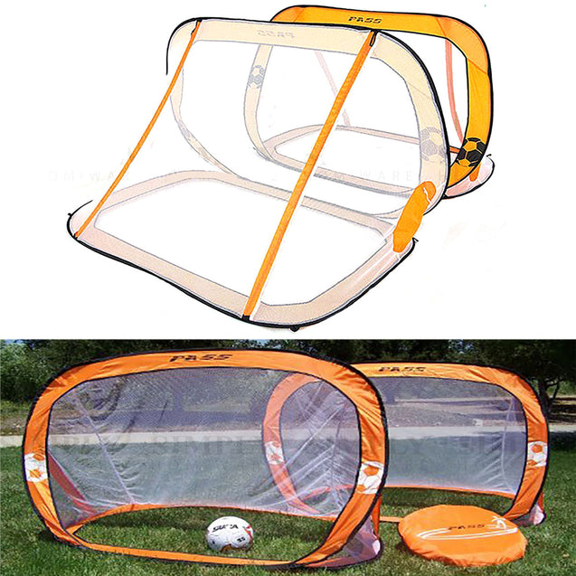 2 x Mini Pop Up Soccer Goals Football Foldable Net Kids Outdoor Sports Training