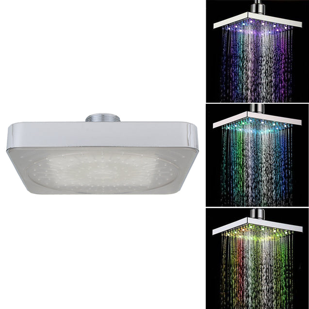 360 Adjustable Chrome Water Temperature Controlled Multi-Color LED Shower Head