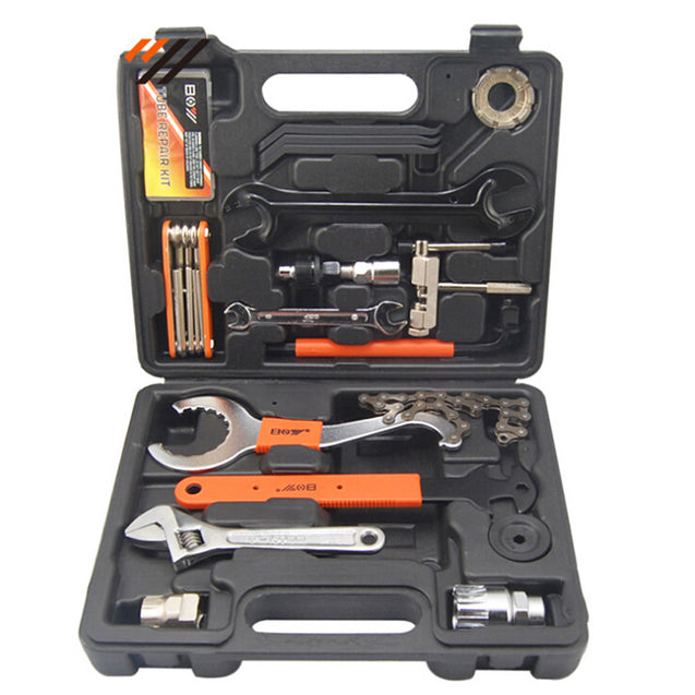 28 in 1 Bike Bicycle Repairing Tool Kit Set Multitools Toolbox Case For Outdoor Cycling Refix