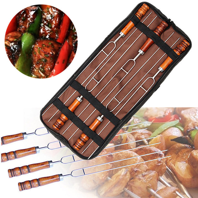 Outdoor 5Pcs Barbecue Tools Set Picnic BBQ Cooking Stainless Steel Meat Grill Fork