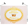 7x5FT Golden Crown Pink Birthday Theme Photography Backdrop Studio Prop Background