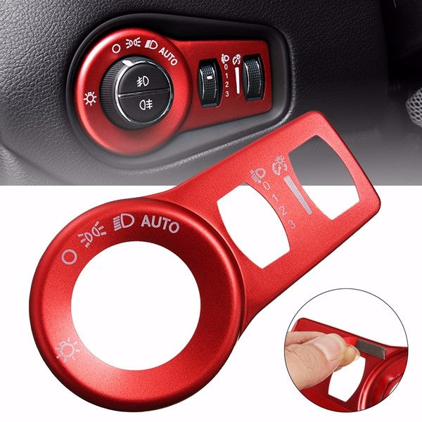 Aluminum Red Fog Headlight Button Switch Trim Cover Decor Frame Decoration For Jeep Cherokee 15+