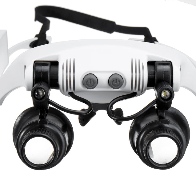 10X 15X 20X 25X LED Magnifying Glasses Jewelry Loupe Magnifier Binocular Loupe Glasses with Light Enlargement Mirror