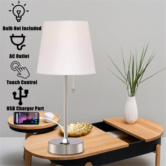 Modern Touch Control Table Light Bedside Nightstand Lamp with USB Charger Port