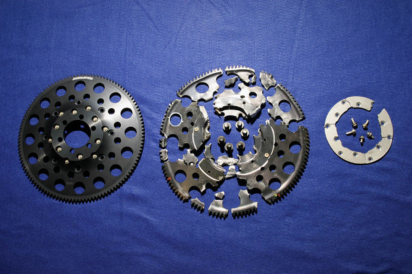 Flywheel before and after Spin test