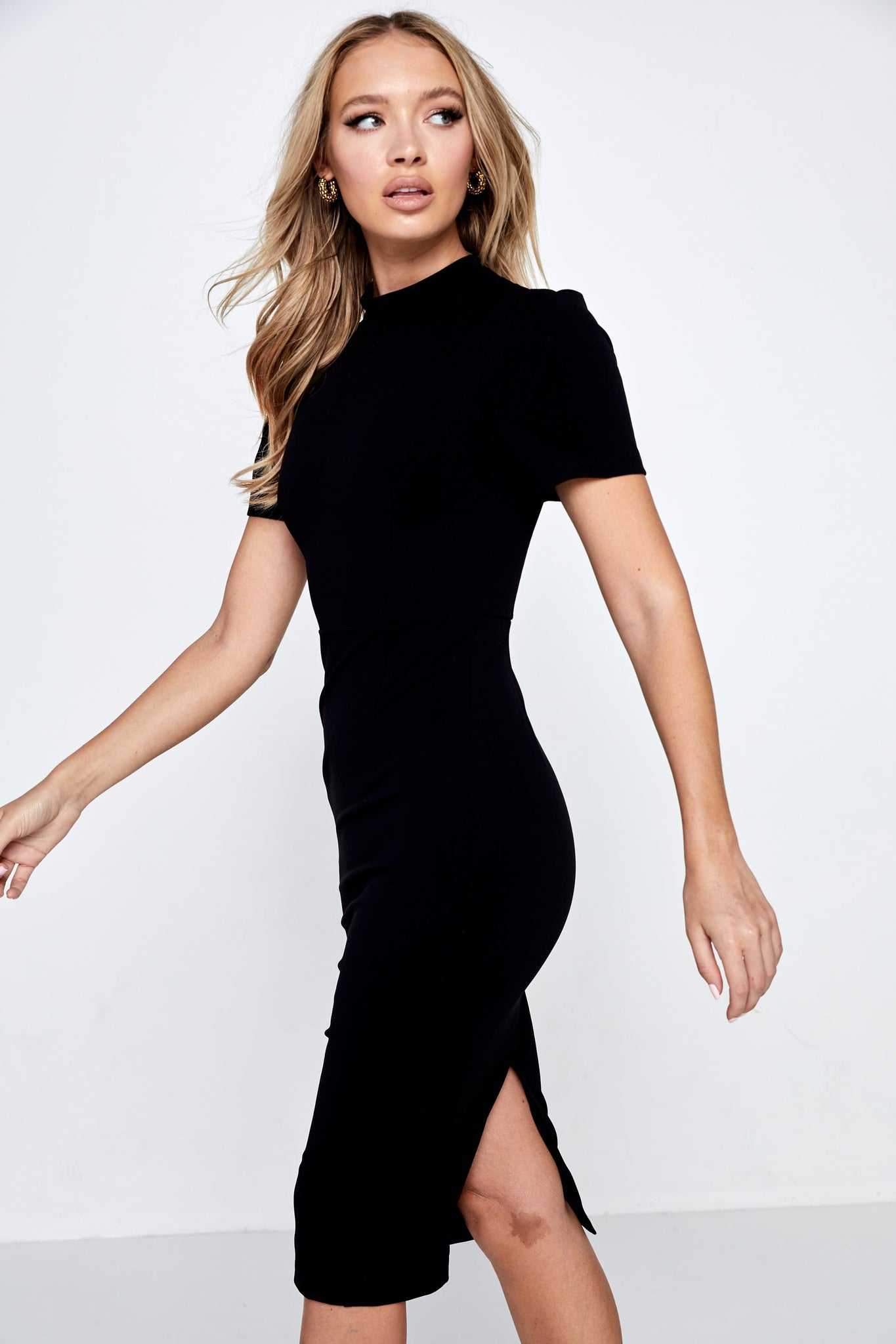 A Moment In Time Midi Dress Mossman Black Side
