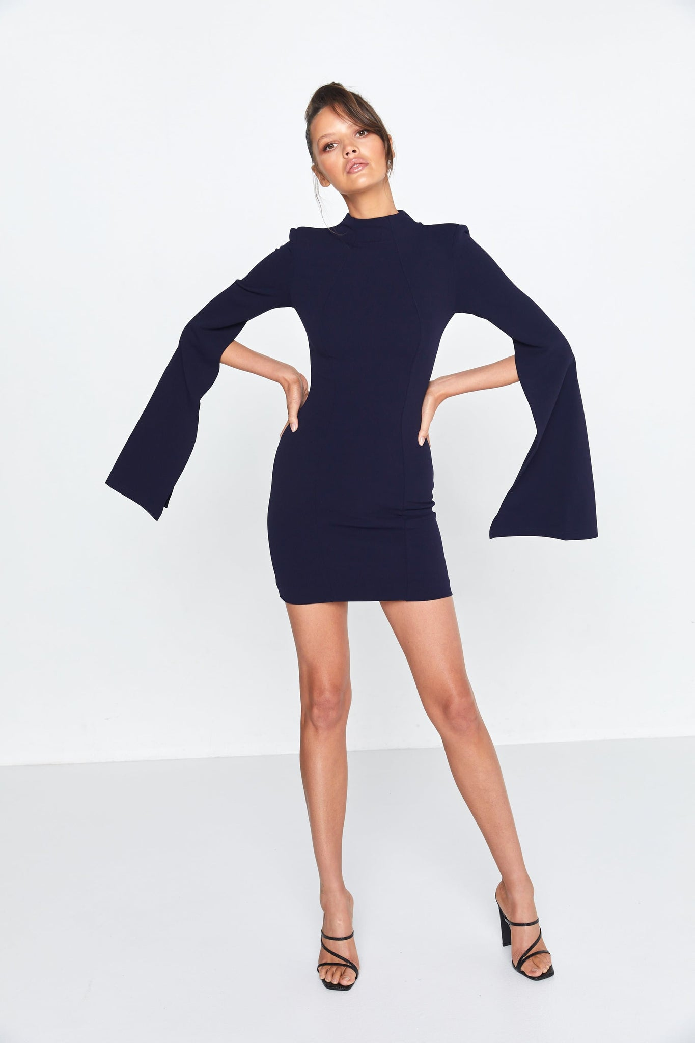 Navy Blue Mini Dress Sense Of Mystery Front
