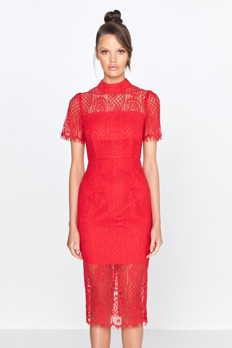 Scarlett Red Lace Midi Dress Making The Connection Front