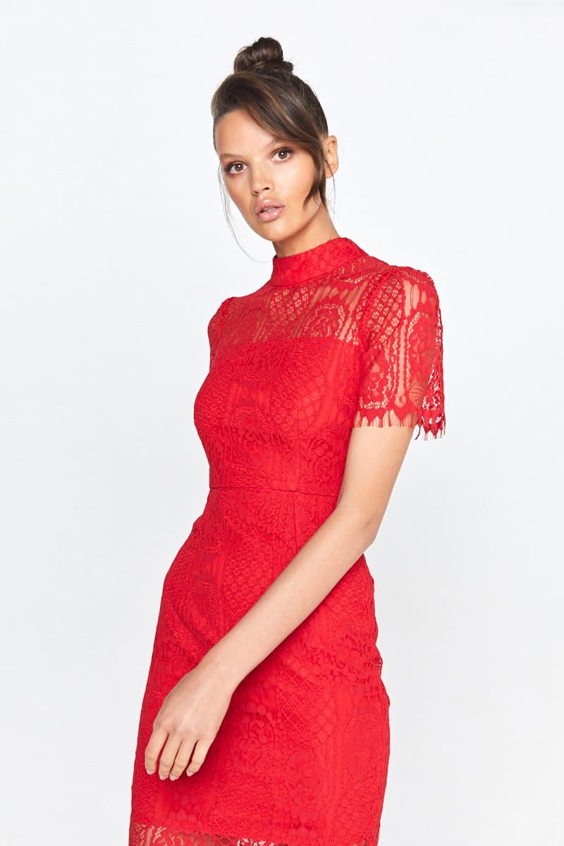 Making The Connection Midi Lace Dress Scarlett Red