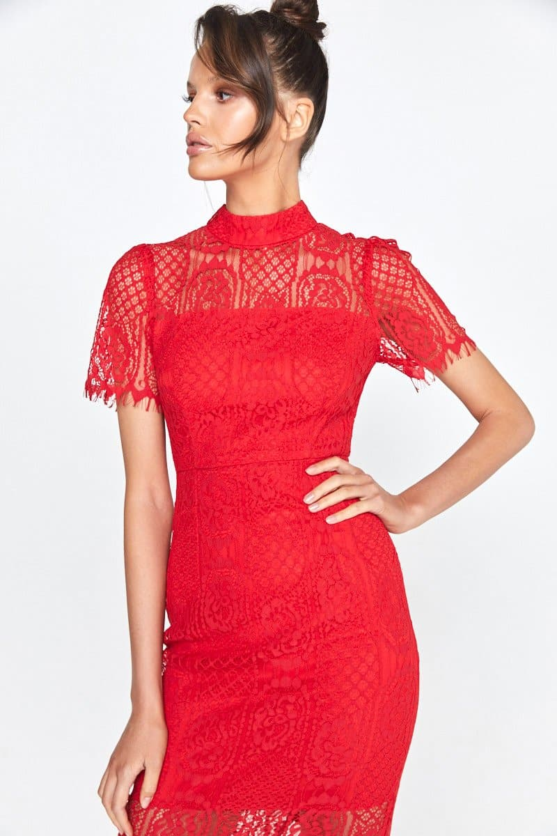 Scarlett Red Lace Midi Dress Making The Connection