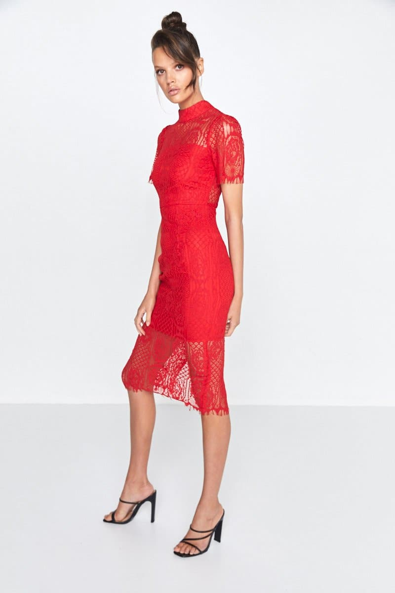 Making The Connection Midi Lace Dress Scarlett Red Side
