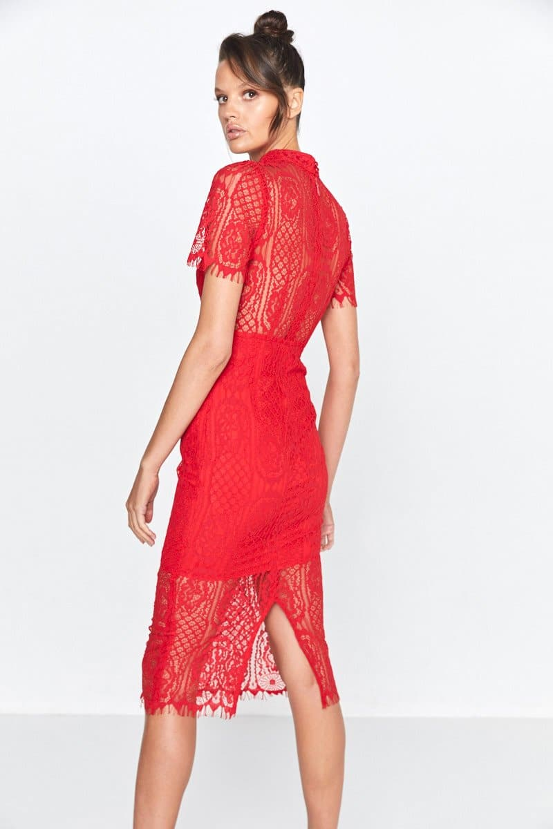Making The Connection Midi Lace Dress Scarlett Red Back