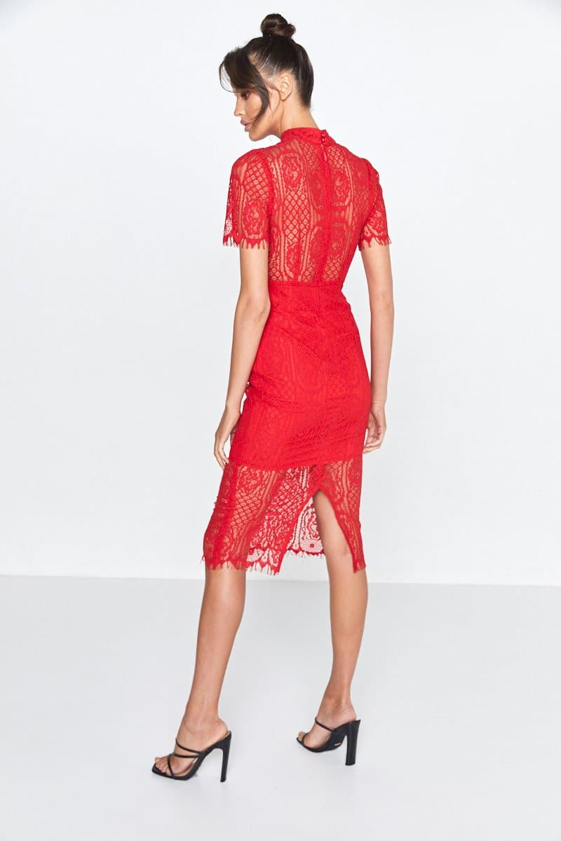 Mossman Scarlett Red Lace Midi Dress Making The Connection