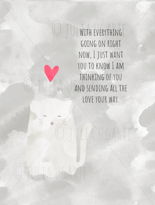 Ghost Kitty Sending Love Your Way Note Card