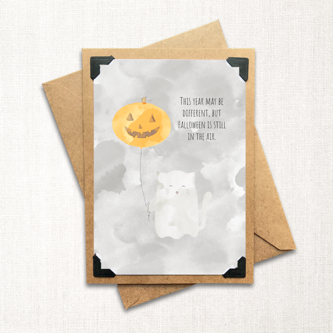 Ghost Kitty Halloween is in the Air Note Card