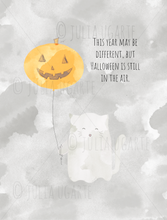 Load image into Gallery viewer, Ghost Kitty Halloween is in the Air Note Card
