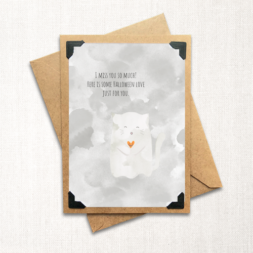 Ghost Kitty Halloween Love Note Card
