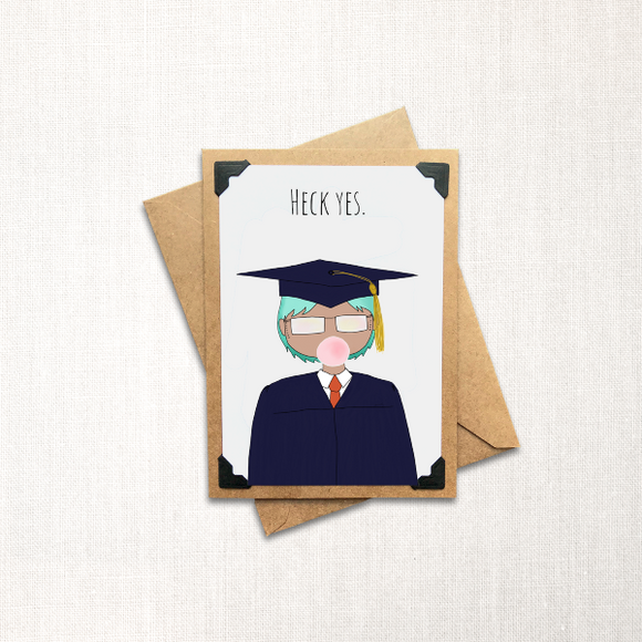Grad Card Short Hair Note Card