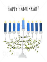 Load image into Gallery viewer, Happy Hanukkah Menorah Holiday Card