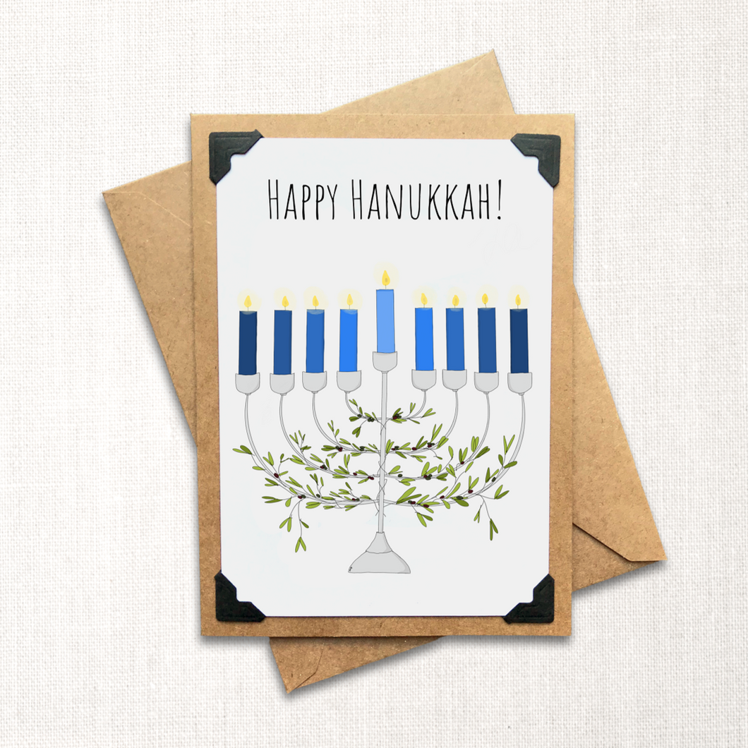 Happy Hanukkah Menorah Holiday Card