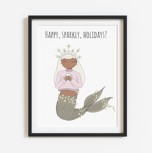 Happy, Sparkly, Holidays! Spirited Neutral 8x10 Print