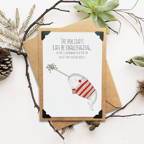 Festive Narwhal Holiday Card