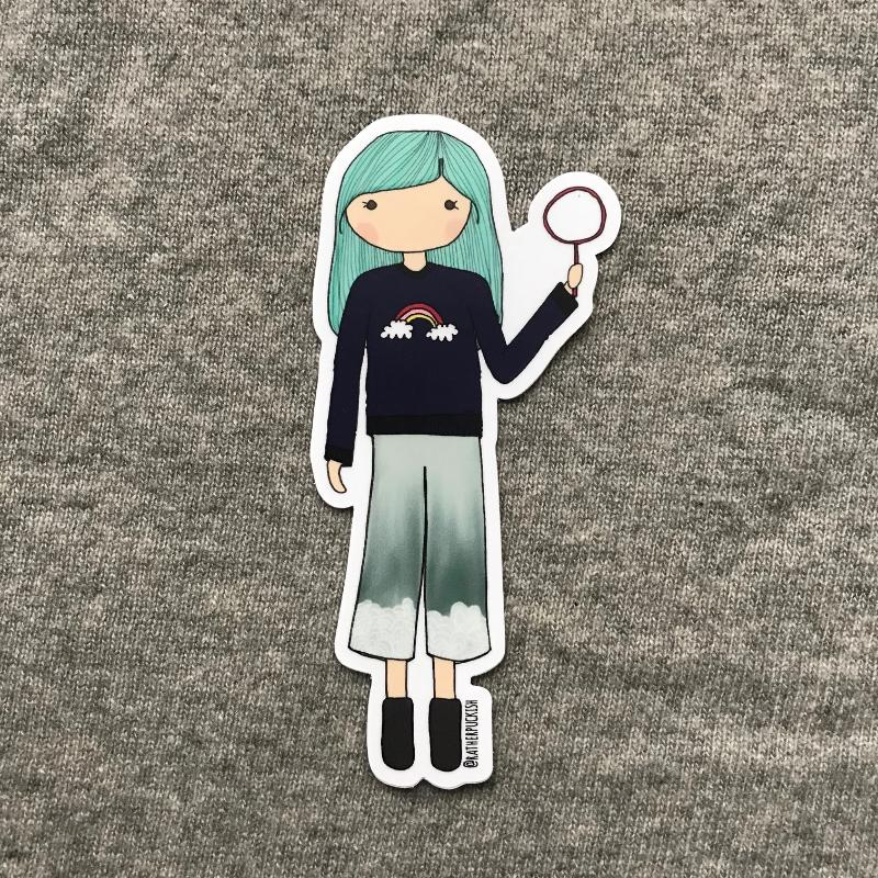 Live Curiously Girl Sticker
